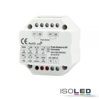 Sys-Pro 2-Push Input, Funk-Output für Switch/Dimm/CCT/ RGB/RGB+W Empfänger, 100-240V H0 x B0 x L0mm IP20 100-240V AC